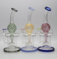 Glass Bong Waterpipe Hookah Recycler Oil Rigs with Color ball Percolator 9inch height and 14mm Bowl