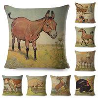 Cushion Decorative Pillow Vintage Style Farm Animal Cushion Cover For Kids Room Sofa Home Decor Cute Cartoon Cow Horse Lion Case Linen Pillo