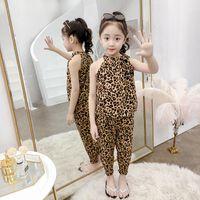 Kinderkleidung Sets Sommer Mädchen Sport Set Leopard Sleeveless T-Shirt + Hosen 2pcs Kleidung 4 6 8 10 12 13 Jahre