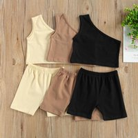 Clothing Sets 1-4 Years 2pcs Solid Outfits Kids Baby Girls Fashion 2-piece Outfit Set One Shoulder Tops Shorts Stylish Girl