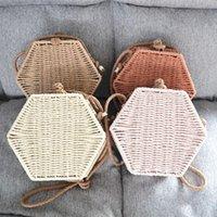 Evening Bags FashionWomen Summer Rattan Bag Hexagon Mulit Style Straw Handbag Woven Beach Circle Bohemia Shoulder