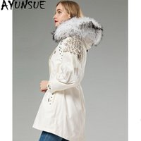 Parka Real Fur Coat Female Liner Long Jacket Winter Women Ra...