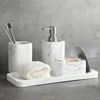Bath Accessory Set Bathroom Soap Dispenser Cotton Jar Mouthwash Cup Imitation Marble TumblerToothbrush Holder And Tray White