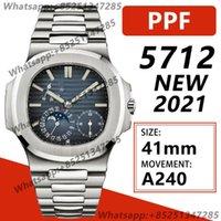 Saatı Erkek Otomatik Mekanik İzle 41mm Nautilus PPF 5712 SS 1: 1 Baskı 2021 Mavi Arama Bilezik Süper Klon A240