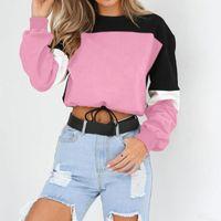 Sudadera recortada Mujeres de manga larga SplCing Color Tops Hip Hop Street Wear Blusa Blusa Mujer de Moda #SRN Sudaderas con capucha para mujer Swea