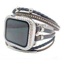 Stylish Watch Wrist Band, Adjsutable Multi-layer Wrap Leather Strap with Rhinestone Protective Case for iWatch Series 6 5 4 3 2 1