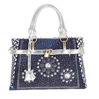 Cross Body 2021 Fashion Womens Handbag Large Oxford Shoulder Bags Patchwork Jean Style And Crystal Decoration Blue Bag
