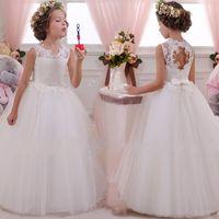 Dantel Beyaz Prenses Çiçek Kız Gelinlik Gelinlik Tül Fuffy Parti Örgün Elbiseler Toddler Bebek Çocuk Noel Kostüm Çocuklar