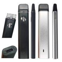 2ml 일회용 vape 펜 델타 8 두꺼운 오일 포드 충전식 350mAh 배터리 바닥 Led 라이트 빈 시각 탱크 블랙 실버 알루미늄 전자 담배 기화기 펜