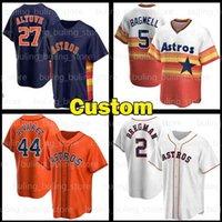 Astros Jersey Custom Houston 27 Jose Altuve 44 Yordan Alvarez 2 Alex Bregman Justin Verlander Carlos Correa Álvarez 야구 유니폼