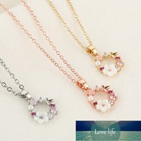 Fashion Crystal Butterfly Pearl Necklace Zircon Flowers Shell Garland Pendant Necklaces for Women Girl Wedding Party Jewelry Gif Factory price expert design