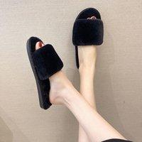 Slippers Women Shoes Fashion Warm Fluffy Faux Fur Cross Indoor Floor Slides Flat Soft Furry Ladies Female Celebrities Flip Flops