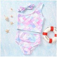 Bebek Kız Yaz Mayo için Üç Adet Setleri 2021 Iki-Parça Balık Terazi Kızlar Bikini Mayolar Çocuk Toddlers Banyo Suits Çocuk Plaj Mayo