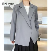 Frau Blazer 2021 Frühling Herbst Vintage grau Anzug Frauen Casual Koreanische Stil Mode Revers Hidden Button Anzüge Jacke Damen Blazer