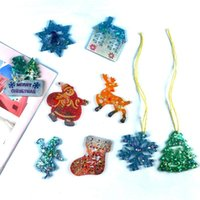 Craft Tools Christmas Decoration Silicone Mold DIY Santa Claus Elk Snowflake Phone Keychain Pendant Crystal Epoxy Resin Dorp Ship