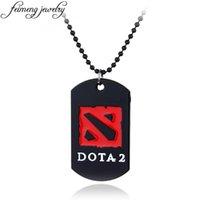 قلادة القلائد على الانترنت لعبة Dota 2 قلادة أسود المينا الخرز سلسلة وأحمر شعار المعادن الرجال الأزياء والمجوهرات