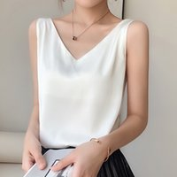Strap Top Women Halter V Neck Basic White Cami Sleeveless Satin Silk Tank Tops WomenS Summer Camisole Plus Size