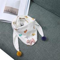 2021 Korean cotton linen Plaid children's cartoon triangle scarf autumn new boys and girls baby cute scarf Bib