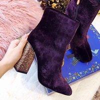 Stivaletti della caviglia del velluto dell in velluto quadrato delle somenze Block High Strass Tacchi di cristallo caldi Scarpe invernali Nero Viola Nuovo 20211