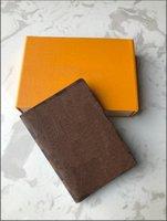 Alta Qualidade Luxurys Designs Cartões Portáteis Chave P0Uch Wallet Classic Mans Mulheres Passaporte Suporte Moeda Bolsa Com Saco De Poeira E Box Flor Brown Flores Holdera