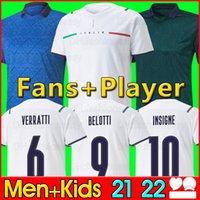 이탈리아 2021 축구 유니폼 홈 멀리 Jorginho el Shaarawy Bonucci Insigne Bernardeschi 성인 남성 + 키트 키트 축구 셔츠