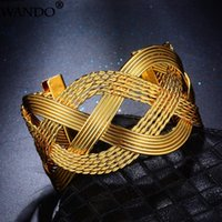Wando Gold Colour Hyperble Bangle for Women Wave Rattan Twisted Hollow Ramadan Bracelet Island Surfer Jewelry 3.7cmWidth b2-3