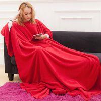 Robe Blanket With Sleeves Sherpa Adult Coral Fleece Throw Hoodie Winter Wearable Pocket Mantas Women's Hoodies & Sweatshirts
