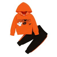 Clothing Sets 2Pcs Kids Halloween Tracksuit, Letters Hooded Long Sleeve Sweatshirt + Splicing Pants For Boys, Girls, 6 Months To 3 Years