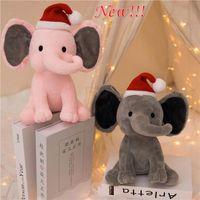 DHL frakt barn elefant med jul hatt mjuk kudde fylld docka söt komfort baby elefant plysch leksak elefant sova kudde bolster födelsedagspresent