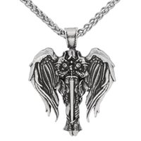 Moda vintage gioielli da uomo collana antico argento argento in acciaio inox tono vintage angelo collana pendente punk rock