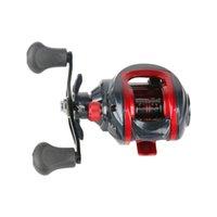 Relação de velocidade de pesca de metal da roda de gota de água 7.2: 1 preto e vermelho esquerdo da mão direita Carretel de Baitcasting YL-0024