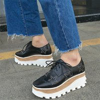 Boots Lace Up Trainers Women Genuine Leather Wedges High Heel Ankle Female Med Top Square Toes Fashion Sneakers Punk Creepers