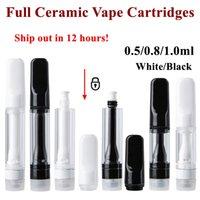 TH205 Full Ceramic Vape Cartridge Delta 8 Atomizers Black White Carts Press On Foam Packaging Vapes Pen 510 Thread E Cigarettes Thick Oil Dab Wax Vaporizer Empty
