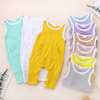 kids clothes girls boys Pit stripes Rompers infant toddler sleeveless Jumpsuits summer fashion Boutique baby Climbing Clothing