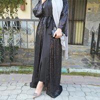 Casual Dresses Dubai Kimono Hijab Muslim Dress Saudi Arabia African For Women Kaftan Turkish Islam Clothing Caftan Marocain Black Sequin Aba