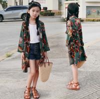 Summer Enfants Fleurs Imprimé Poncho Sous Big Kids Mousseline de soie à manches longues Empêche dans Cardigan Gilrs Beach Outwear A6191