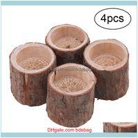 Holders Décor Home & Garden4Pcs Minimalist Wooden Candlestick Candle Holder Table Decoration Plant Flower Plot Drop Delivery 2021 Yqx3X