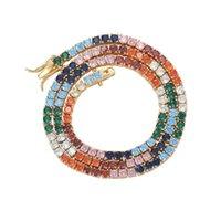 Correntes mais cores quadrado Cz de tênis cadeia 3mm cúbico zircão bling gelado fora das mulheres colar de bronze jóias presente BC025