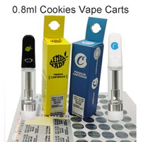 Cookies Vape Cartridges 0.8ml 1ml Limited Edition Packaging Electronic Cigarettes Empty Ceramic Coil 510 Thread Vaporizers Childproof Tubes Thick Oil Atomizer