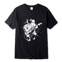 Xin Yi Herren Casual Hohe Qualität 100% Baumwolle Kurzarm T-Shirt Lustige Astronaut Spiele Gitarre Print MizerShirt Oansatz T-Shirt Menoccer Jersey