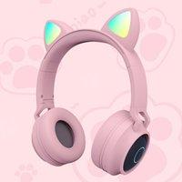 Econic jogo fone de ouvido Bluetooth 5.0 fones de ouvido sem fio orelha de gato led luz estéreo música fone de ouvido filha para celular telefones celulares sem caixa de varejo