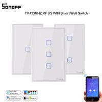 Sonoff T0us TX Inteligente Home Wi-Fi / App Controle Remoto Painel de Vidro Toque em Luz 1Gang Interruptor de Parede de Backlight LED Trabalha com Alexa Ifttt