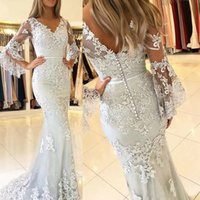 Silver Long Juliet Sleeves Mermaid Prom Dresses Ribbon Lace Applique Covered Button Sweep Train Formal Evening Party Wear Custom Made