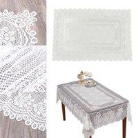 روز زهرة نمط الدانتيل حافة مستطيلة مفرش المائدة 152x228 سنتيمتر (أبيض) الجدول القماش