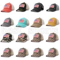 USA Indépendance Day Chapeau Femmes Camouflage Capuchon de baseball léopard Chapeaux de queue de queue américaine Drapeau américain Broderie Net Lave-Casquettes