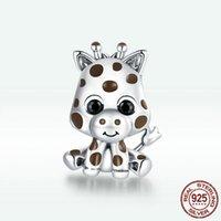 6 MIX DESIGN DESIGN 925 Sterling Silver Cute Baby Giraffe Braccialetti di fascino Fit Braccialetti Epossidica Brandelli FAI DA TE Gioielli Fare accessori gioielli