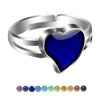 Produktion Mode Einfache Frauen Schöne herzförmige Pfirsich Herz Liebe Liebhaber Fühlen Warmstimmungsfarbe Ring