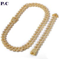 Chains 3 Rows Rhinestone 18mm Miami Curb Cuban Link Chain Alloy Necklace Bracelet Set For Mens Hip Hop