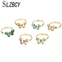 Wedding Rings Fashion Transparent Crystal Zircon Butterfly Ring Adjustable Bohemia Clear Rhinestone Open Finger For Women Summer Jewelry