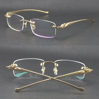 Selling Rimless Metal Leopard Series Panther Optical 18K Gold Sunglasses Square Eyewear Round Shape Face Glasses Male And Female With B Gffx